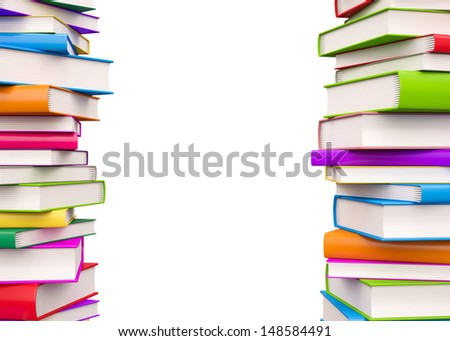 Colorful Books , Isolated on white  - stock photo