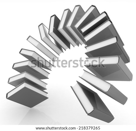 Colorful books like the rainbow on a white background