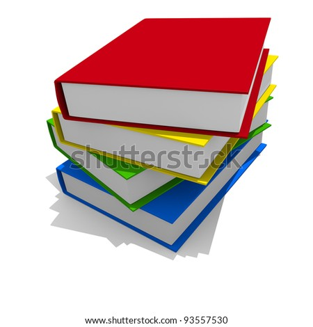 Colorful books on a white background, 3D image