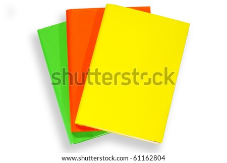 Colorful books on white background  isolated - stock photo
