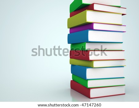 Colorful books stacked - stock photo