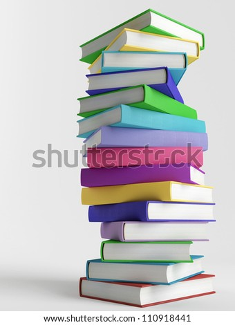 Colorful books without titles on white background - stock photo