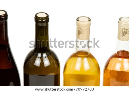 Colorful Bottles of Wine Isolated on a White Background