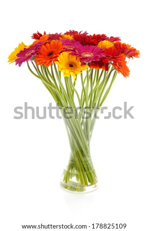 Colorful bouquet of Gerber flowers in glass vase - stock photo