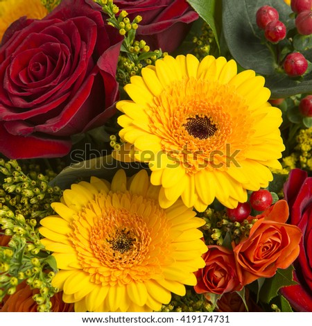 Colorful bouquet of various flowers