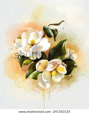 Colorful bouquet of white flowers isolated on white background. Closeup. - stock photo
