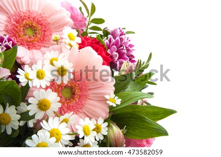 Colorful bouquet with different kind of flowers over white