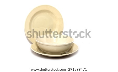 Colorful bowl and plate on White Background - stock photo