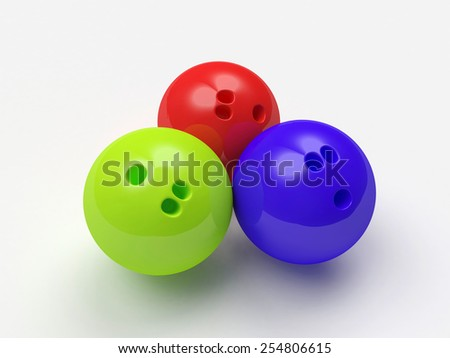 Colorful bowling balls on white background
