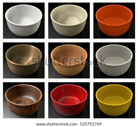Colorful bowls - stock photo