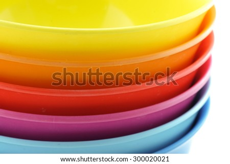 Colorful bowls isolate on white backgroud - stock photo