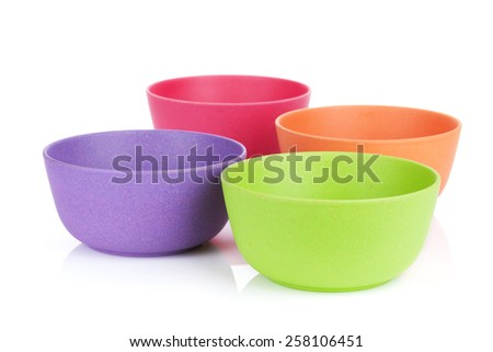 Colorful bowls. Isolated on white background