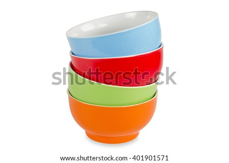 Colorful bowls isolated on white background - stock photo