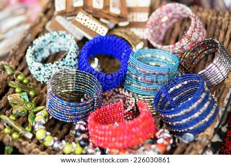 Colorful bracelets on market in Ubudm Balim Indonesia - stock photo