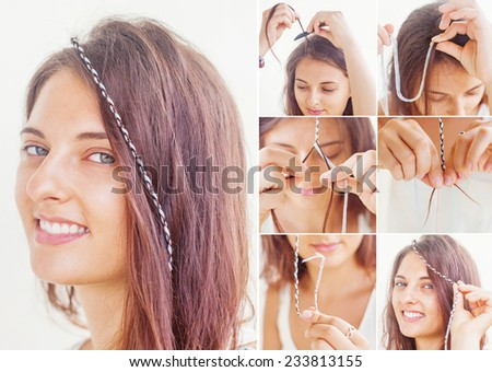 colorful braid tutorial by beauty blogger - stock photo