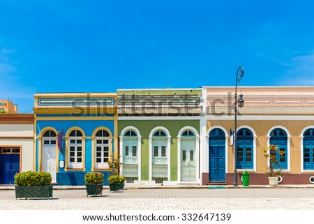 Colorful Brazilian colonial houses - stock photo