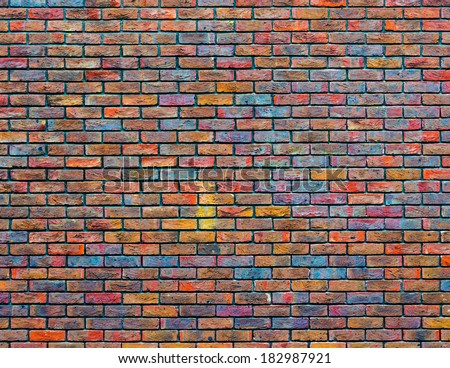 Colorful brick wall texture - stock photo