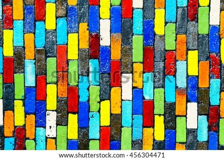 Colorful brick wall texture - stock photo