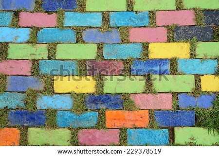 Colorful brick with grass - stock photo