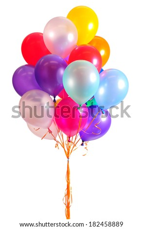 colorful bright balloons isolated on white - stock photo