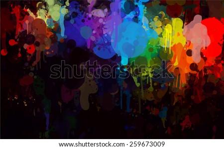 Colorful bright  brush strokes on black background. Raster version - stock photo