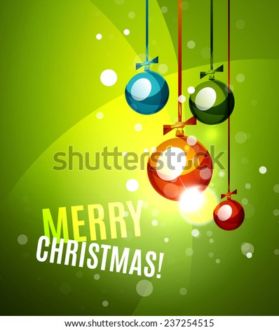 Colorful bright Chrismas card, modern abstract template - stock photo