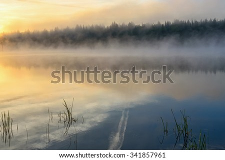 Colorful bright golden sunrise with fog on the lake with beautiful reflections of the clouds, the sun and the trees in the water against a blue sky - stock photo