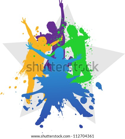 Colorful bright ink splashes and kids jumping on blue background - stock photo