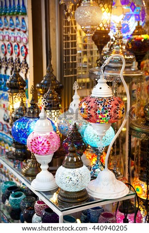 Colorful bright lamps hanging at the shop of Grand Bazaar in Istanbul, Turkey - stock photo