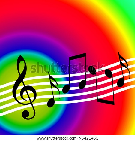 Colorful bright music background with random musical notes - stock photo
