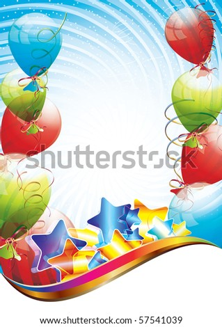 Colorful brightly backdrop with balloons, confetti, ribbons, illustration