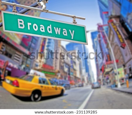 Colorful Broadway sign over Times Square background - stock photo