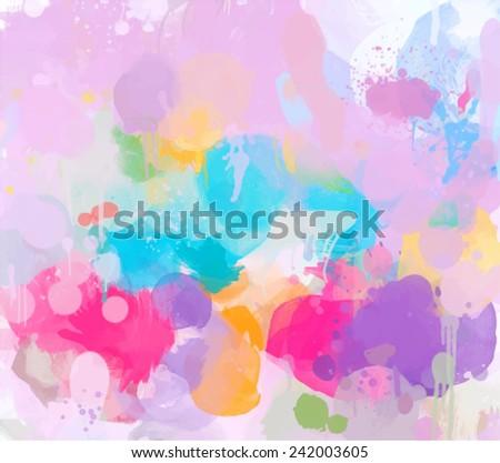 Colorful brush strokes background - stock photo