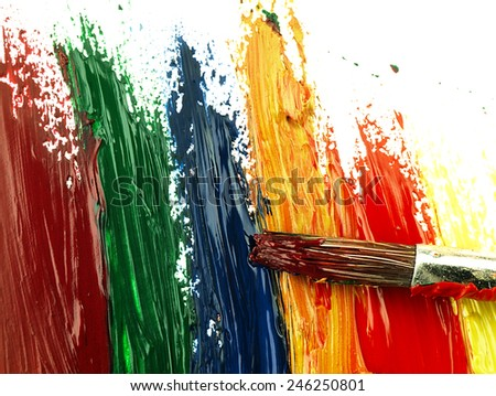 Colorful brush strokes on a white sheet. Visible texture of paint and brush. - stock photo