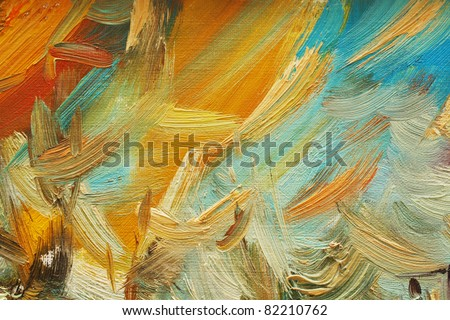 Colorful brushstrokes in oil on canvas