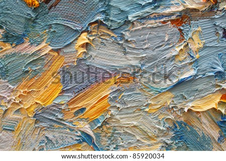 Colorful brushstrokes in oil on canvas - stock photo
