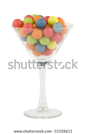 Colorful bubblegum in a cocktail glass. - stock photo