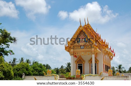 Colorful Buddhist temple, Thailand - stock photo