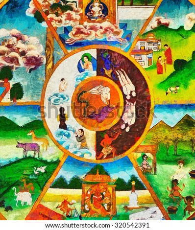 Colorful Buddhist thanka wheel of life oil painting - stock photo