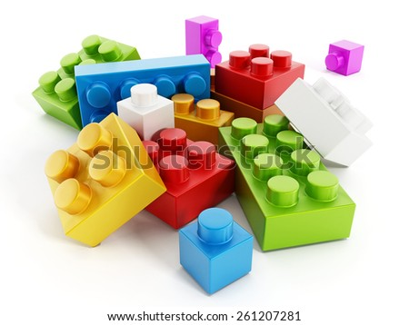 Colorful building block toy parts isolated on white background - stock photo
