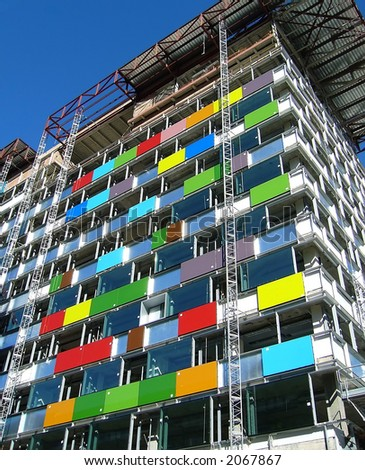 Colorful building in construction - stock photo