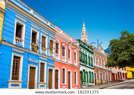 Colorful building in La Candelaria neighborhood in the historic center of Bogota, Colombia - stock photo