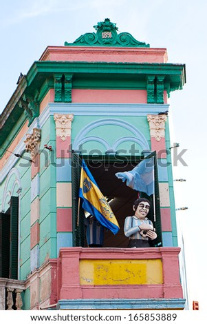 Colorful building in the La Boca neighborhood of Buenos Aires,Argentina - stock photo