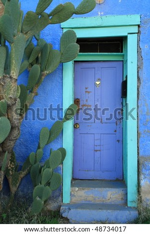 colorful building in the Old Barrio, Tucson - stock photo