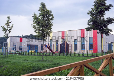 colorful building kindergartens - stock photo
