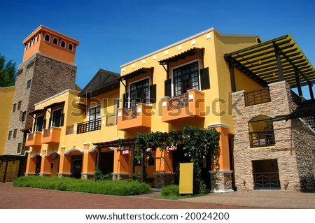 colorful building, low angle - stock photo