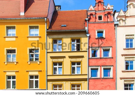 Colorful building's facade in Nysa, Poland