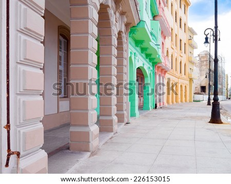 Colorful buildings along the Malecon avenue in Havana - stock photo
