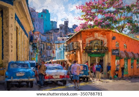 Colorful buildings and old cars in Havana - painterly rendition - stock photo