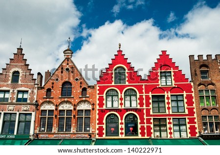 Colorful buildings in Bruges, Belgium  - stock photo